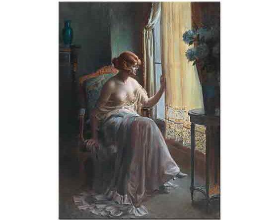 Delphin Enjolras Odasında Sabahlığı ile Kadın