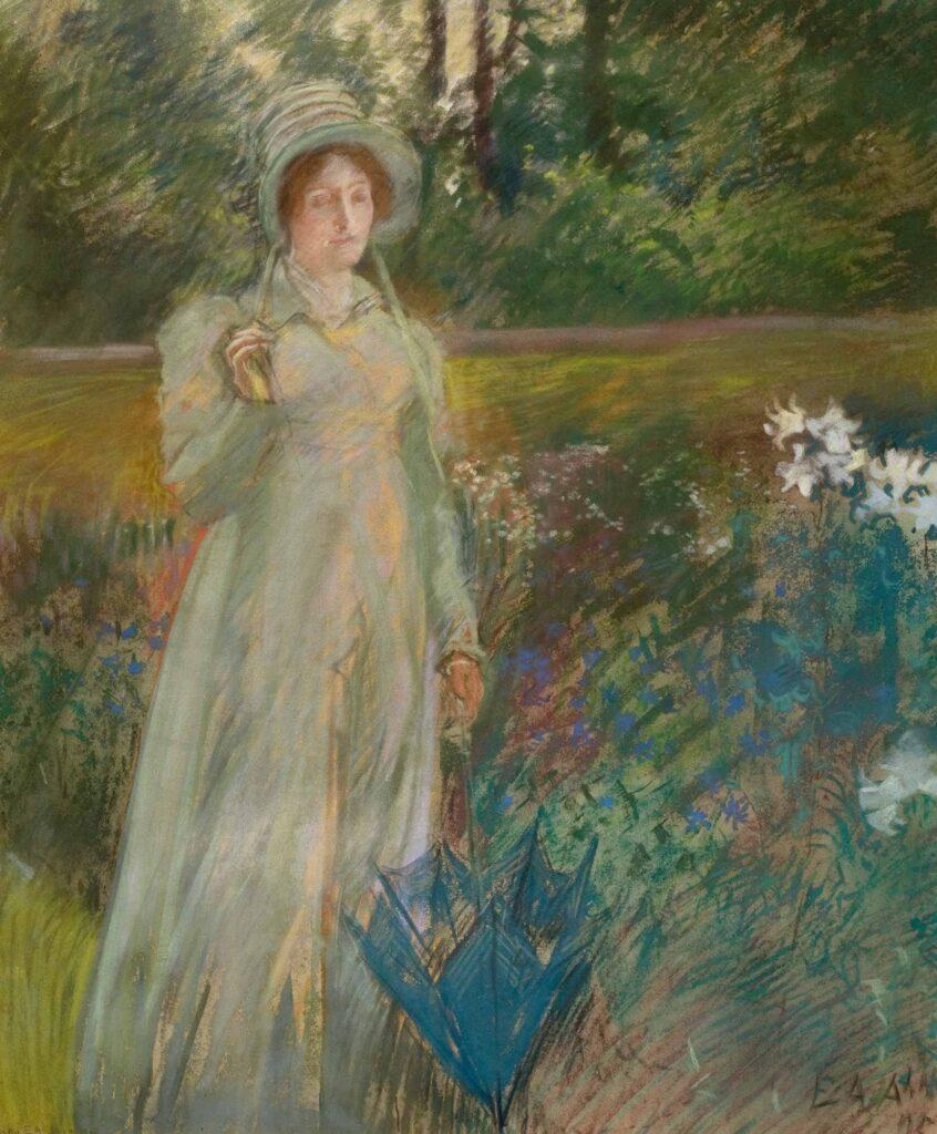 Edwin Austin Abbey Bahçedeki Kadın