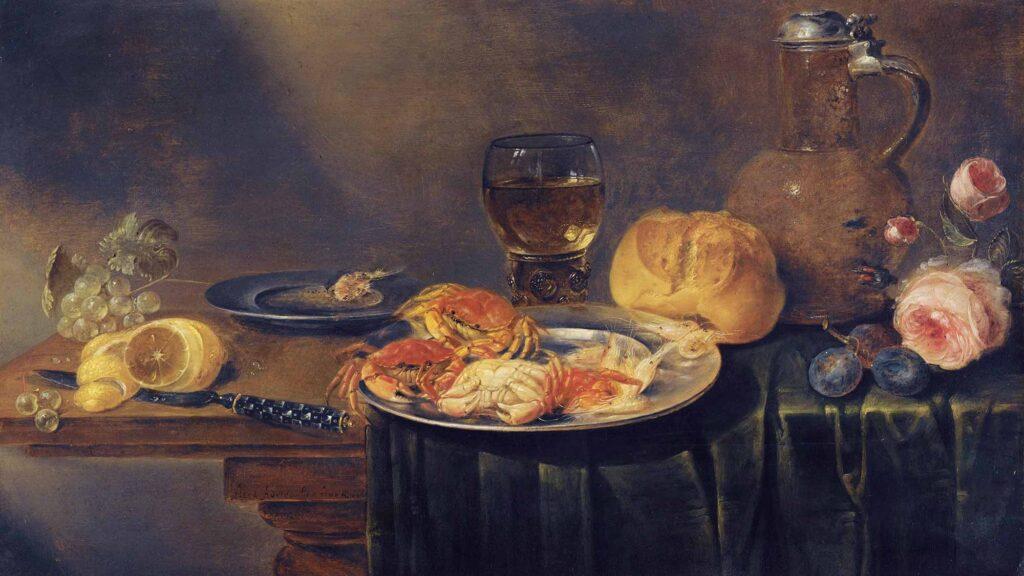 Alexander Adriaenssen Gül Yengeç ve Ekmekli Natürmort