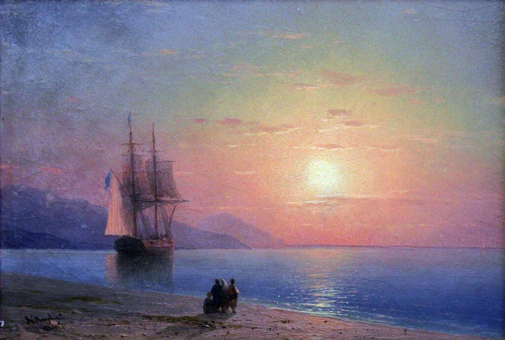 Ayvazovski Deniz 1864 (Sahilde Gün Batımı)