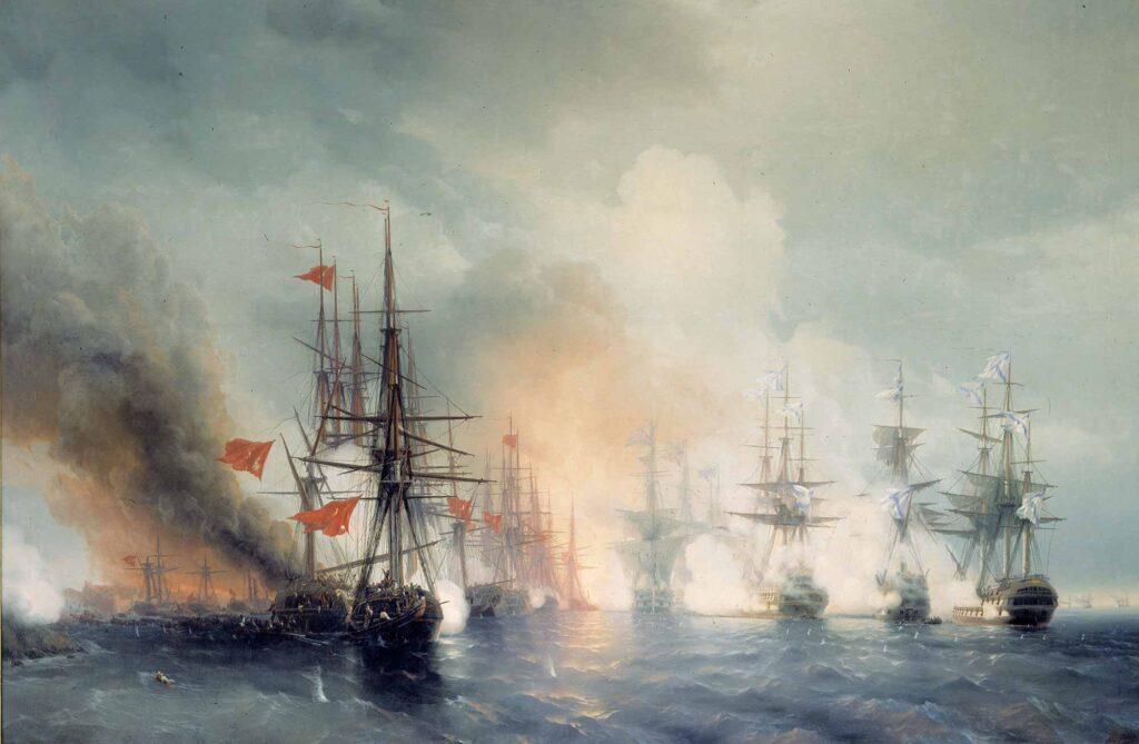 Ayvazovski Sinop Savaşında Gemiler