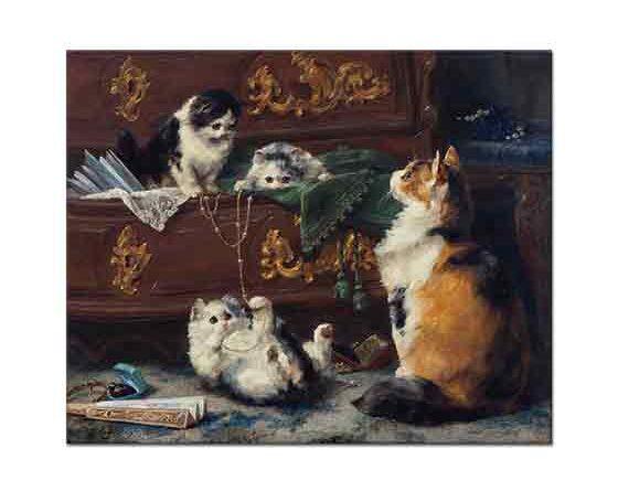 Charles van den Eycken Kedi ve Yavruları