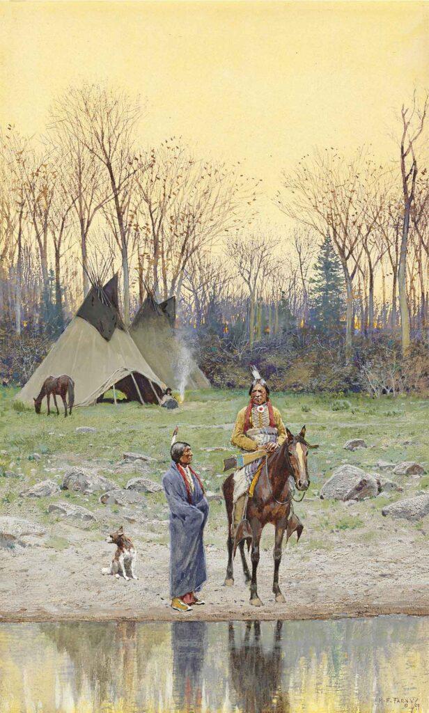 Henry Farny At Üstünde Kızılderililer