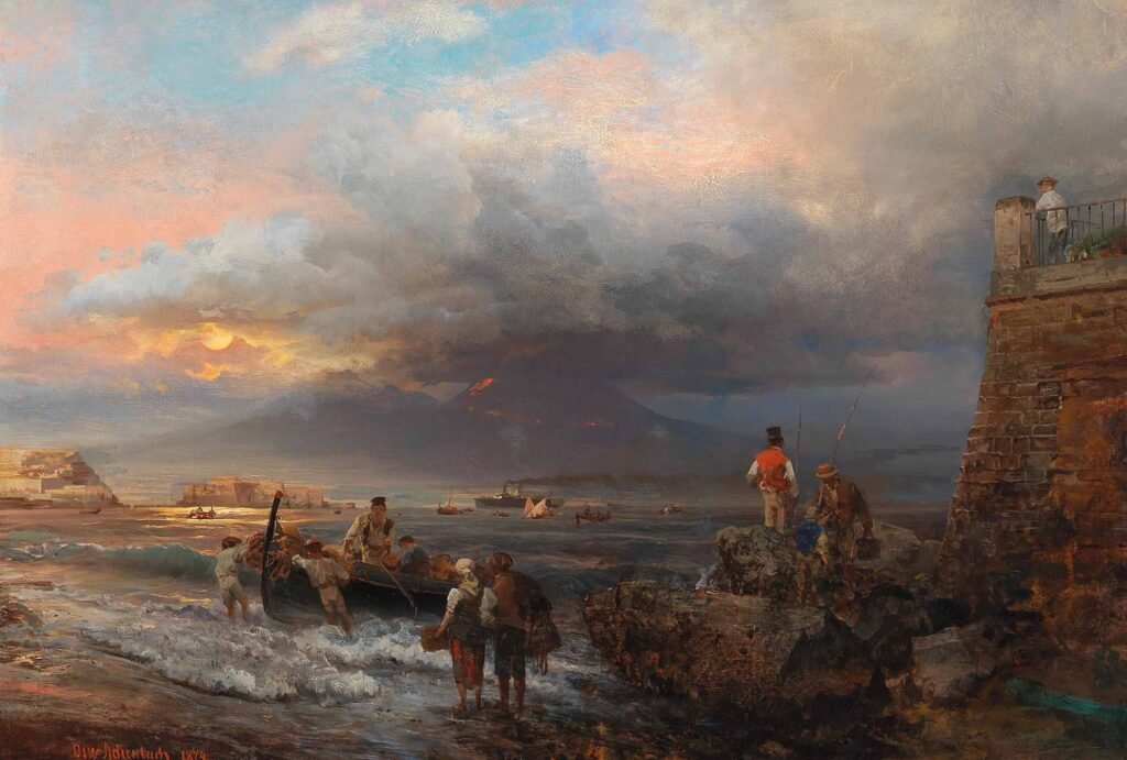 Oswald Achenbach Napoli Sahili ve Vezüv