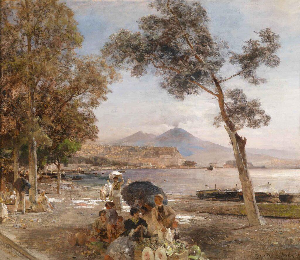 Oswald Achenbach Napoli'de Günbatımı
