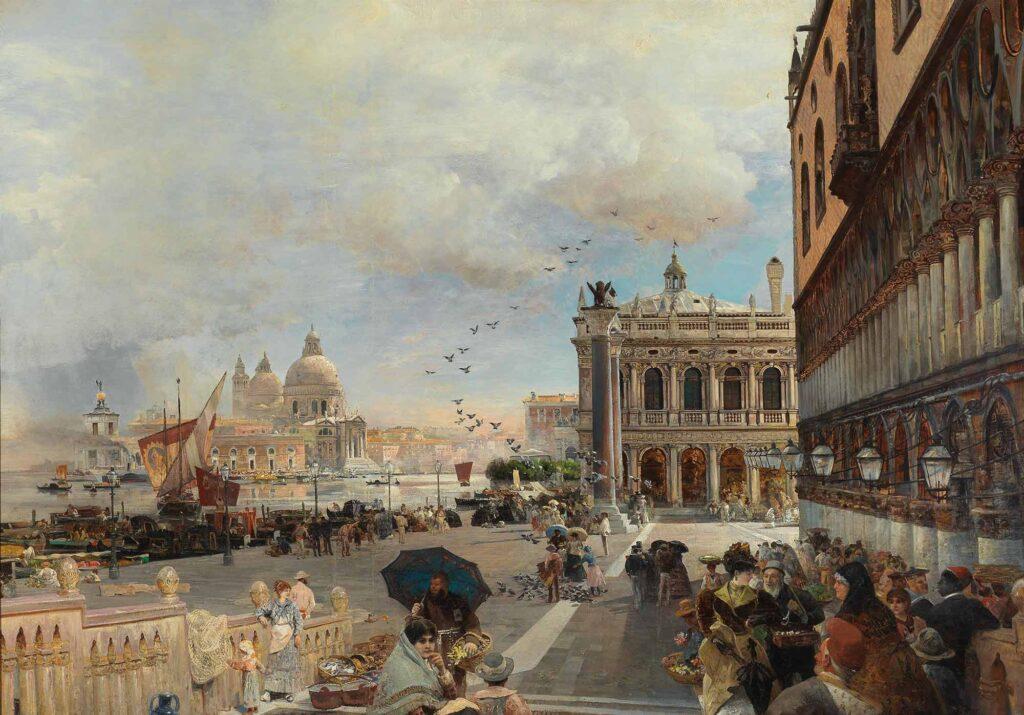 Oswald Achenbach Piazzetta Meydanı Venedik