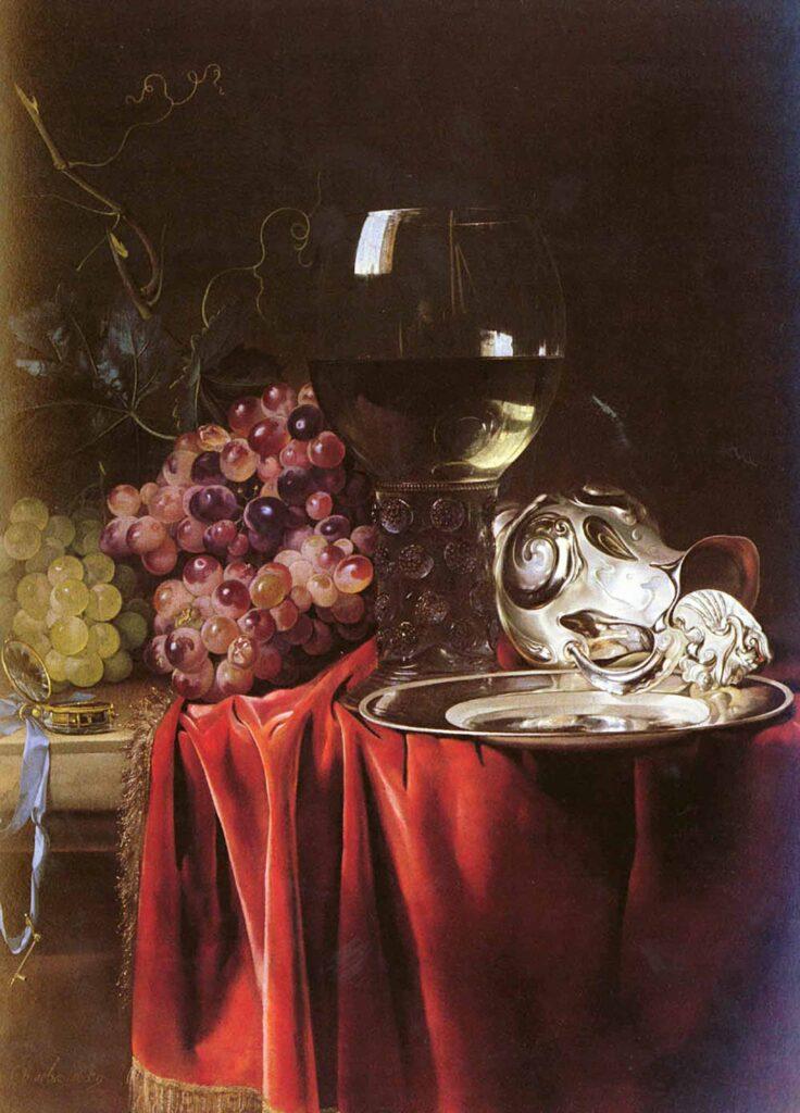 Willem van Aelst Gümüş Tabak Kadeh ve Taslı Natürmort