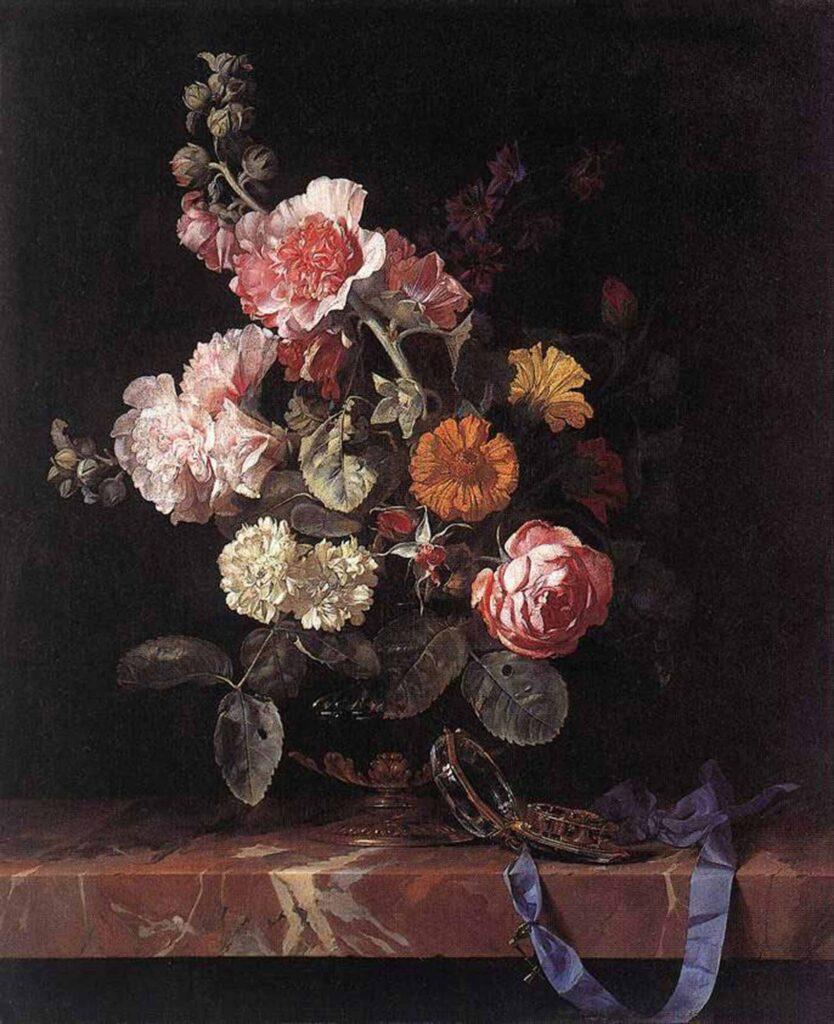 Willem van Aelst Vazoda çiçekler ve Saat