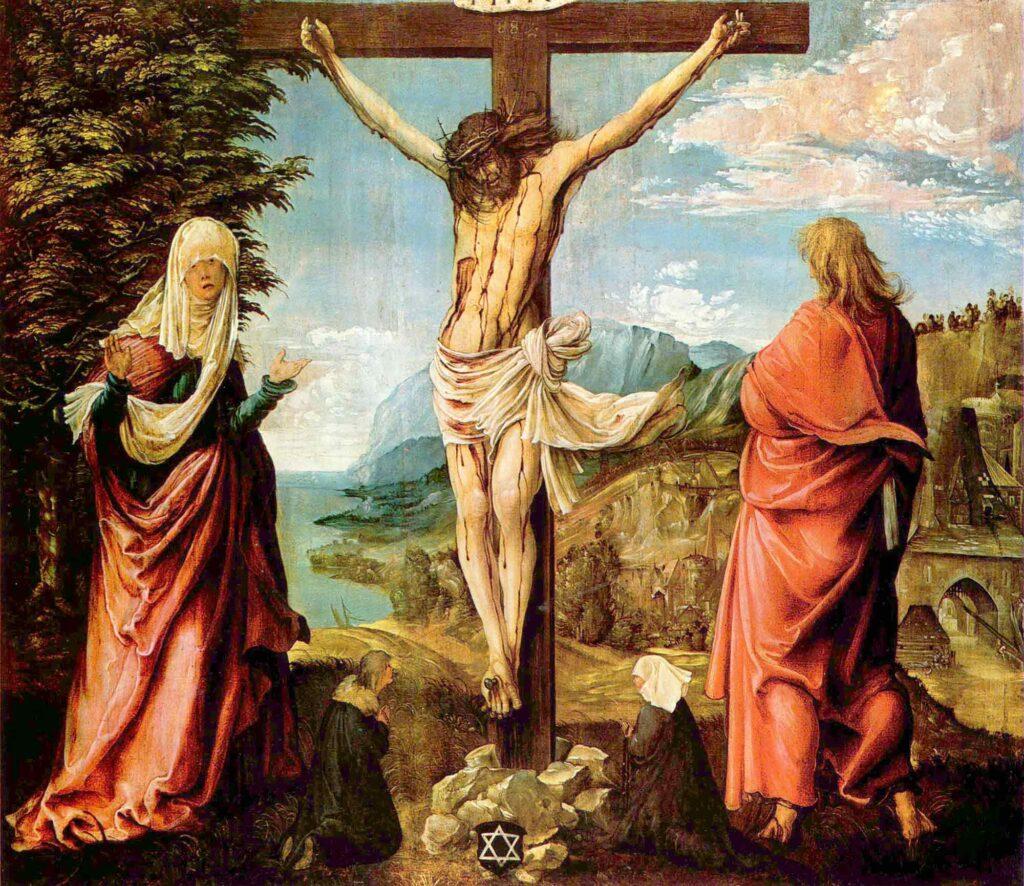 Albrecht Altdorfer Çarmıha Geriliş - The Crucifixon with Maria and Johannes