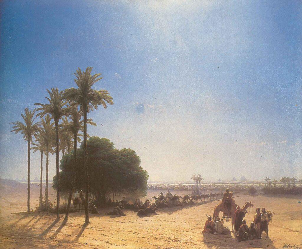 Ayvazovski Piramitlerin Önünde Kervan