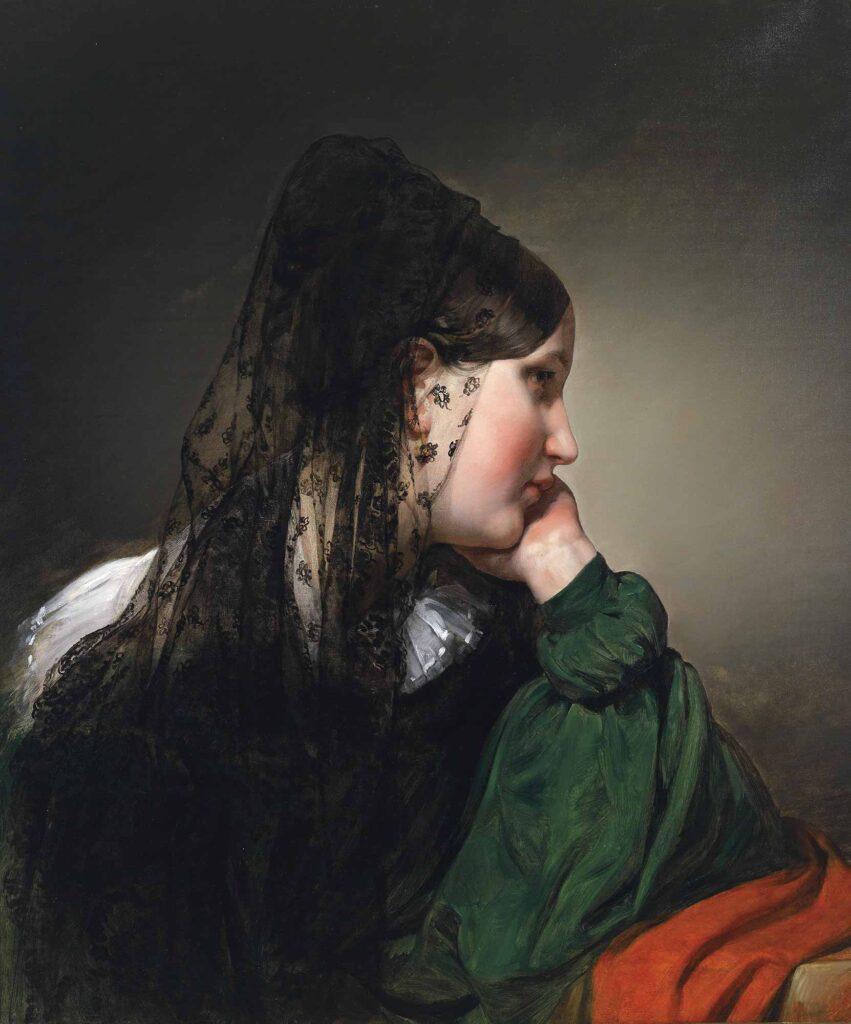 Friedrich von Amerling Siyah Eşarplı Kadın - Girl in a Black Mantilla