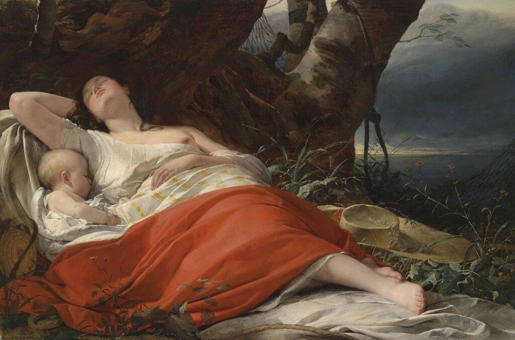 Friedrich von Amerling Uyuyan Balıkçı - Sleeping Fisher Woman