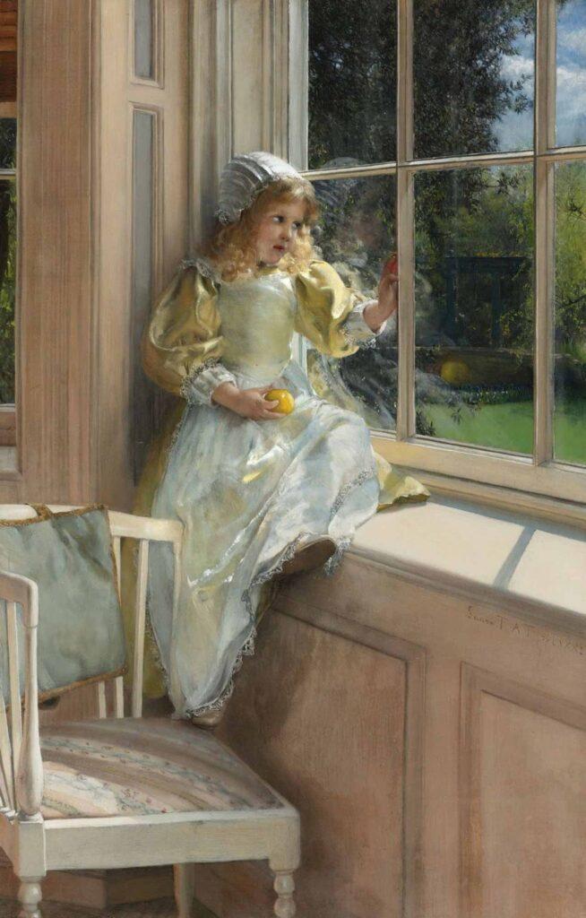 Laura Theresa Alma Tadema Pencereden Bakan Çocuk - A Looking out Owindow