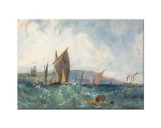 Richard Parkes Bonington Dieppe Sahilinde Tekneler