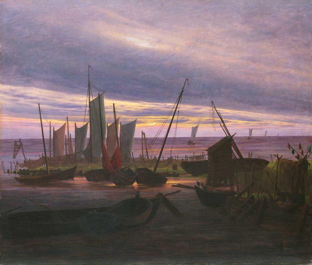 Caspar David Friedrich Akşam Vakti Limanda Gemiler