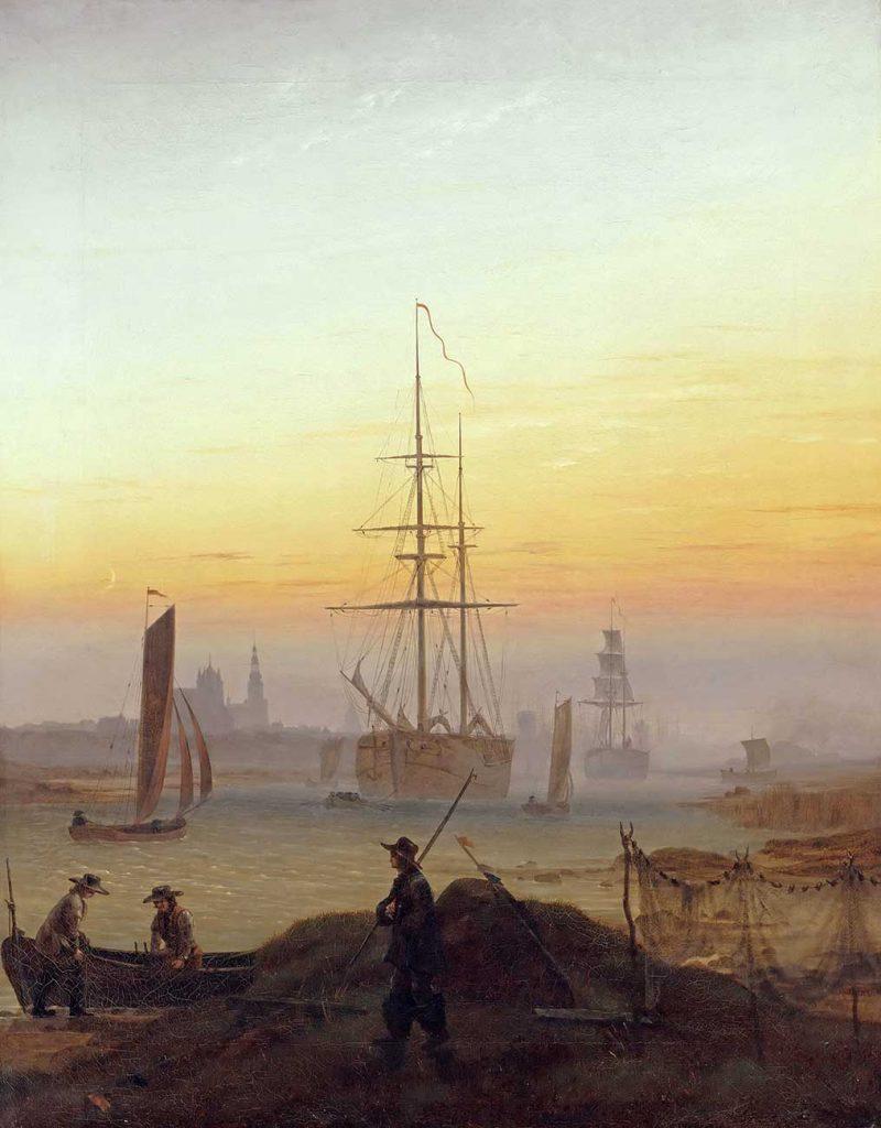 Caspar David Friedrich Greifswald Limanında Gemiler