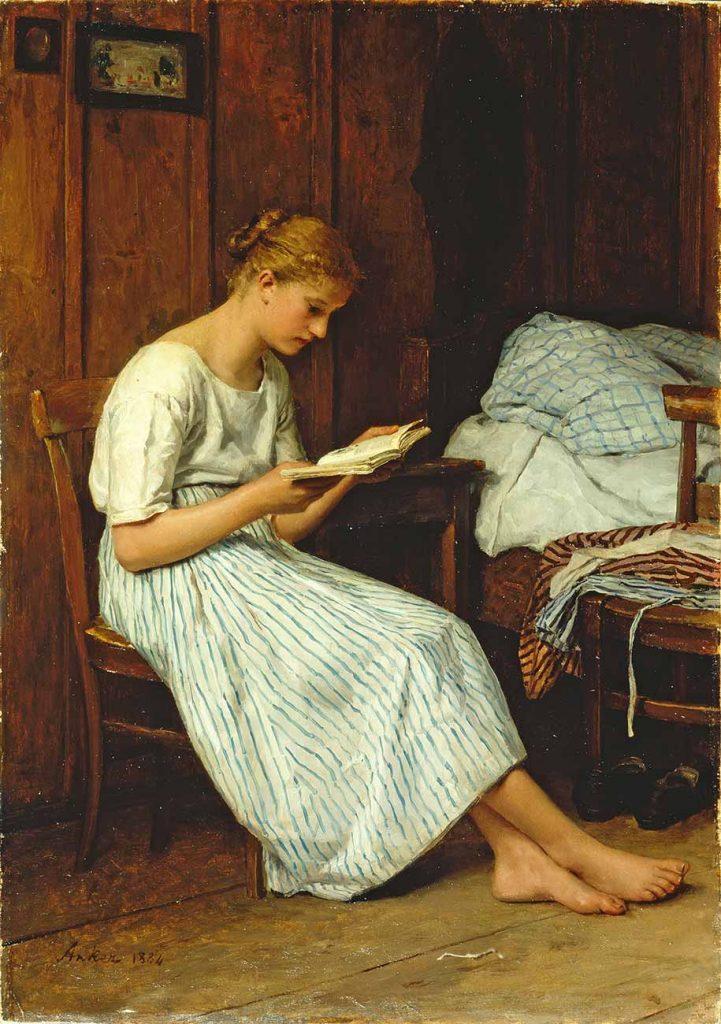 Albert Anker Dua Kitabı Okuyan Kız