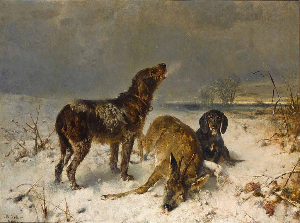 Friedrich Otto Gebler İki Av Köpeği Avlarıyla