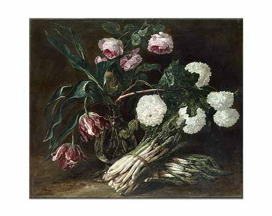 Jan Fyt Vazoda Çiçekler ve Kuşkonmaz Demeti