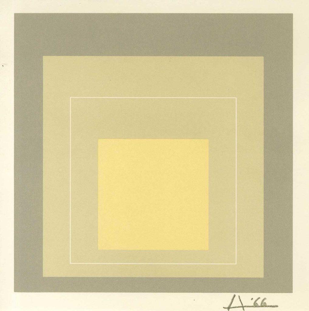Josef Albers Beyaz Kontürlü Kareler