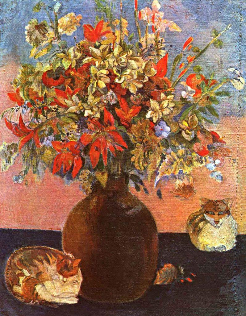 Paul Gauguin Çiçekler ve Kediler