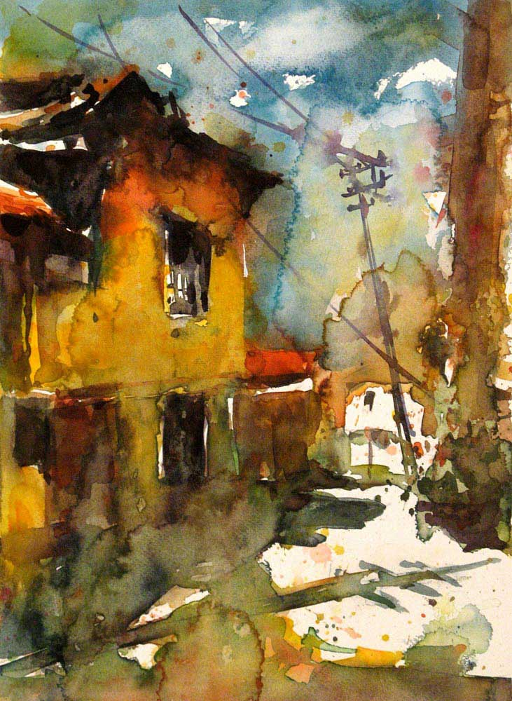 Burhan Özer Eski Bir Sokak Manzarası