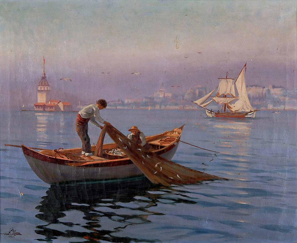 Dr Hikmet Hamdi Kız Kulesi Önünde Balıkçılar