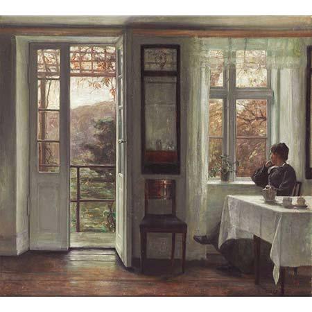 Carl Vilhelm Holsoe Sanatçının Eşi Pencere Kenarında