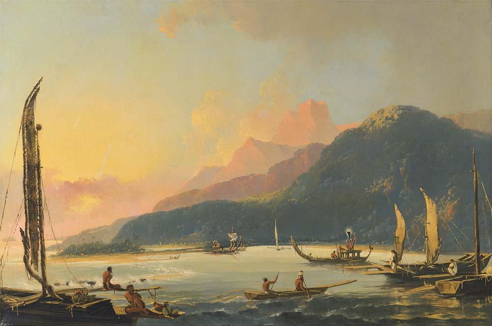 William Hodges Tahiti Savaş Tekneleri Matavai'de