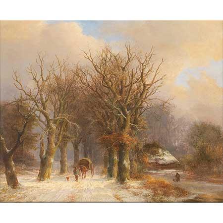 Johann Bernhard Klombeck Kış Manzarasında At Arabası