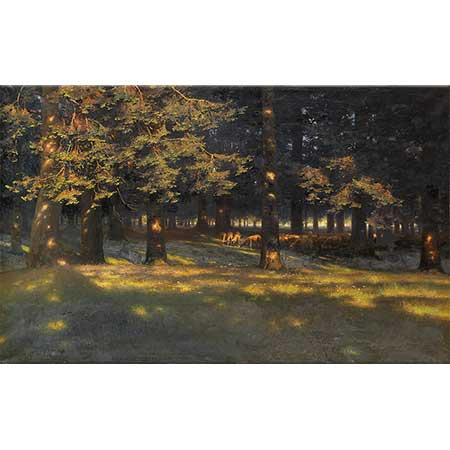 Paul Wilhelm Keller Reutlingen Otlayan Koyunlar ve Orman Işıkları